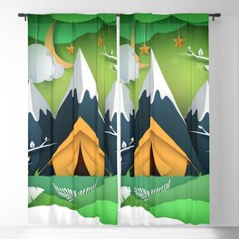 3D Paper Art Camping Trip In The Mountains Blackout Curtain
