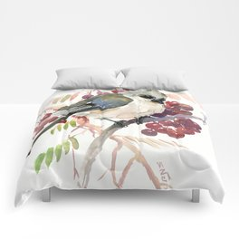 Cute Little Bird and Berries, Tufted Titmouse Comforters