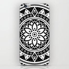 Black & White Patterned Flower Mandala iPhone Skin