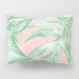 Island Love Seashell Pink Coral + Green Pillow Sham
