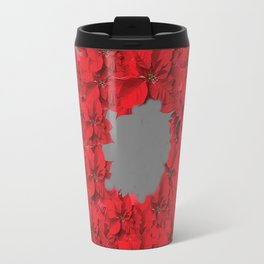 RED CHRISTMAS POINSETTIAS FLOWER WREATH DECORATIONS Travel Mug