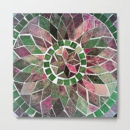 Pink & Green Stone Flower Metal Print