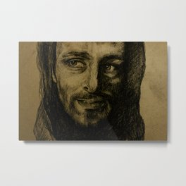 Underworld film. Coal portrait of lycan Lucian. actor Michael Sheen. Портрет углем ликана Люциана Metal Print
