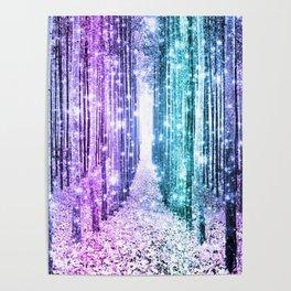 Magical Forest Lavender Aqua Teal Ombre Poster