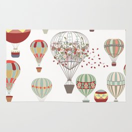 Adventures. Illustration with air balloons in vintage hipster style Rug