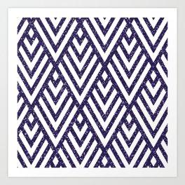 Purple Glitter Line Pattern Art Print