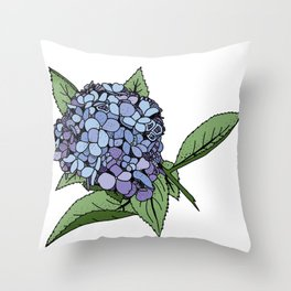 Hydrangea Blue Throw Pillow