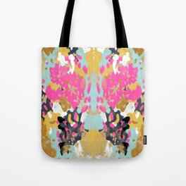 Laurel - Abstract painting in a free style with bold colors gold, navy, pink, blush, white, turquois Tote Bag