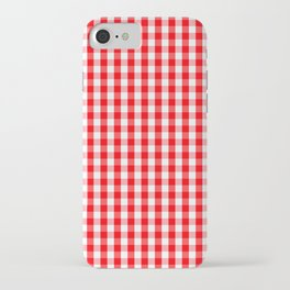 Large Christmas Red and White Gingham Check Plaid iPhone Case