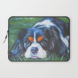 Beautiful Tricolour Cavalier King Charles Spaniel Dog Painting by L.A.Shepard Laptop Sleeve