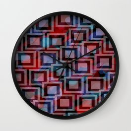 Black and White Squares Pattern 04 Wall Clock