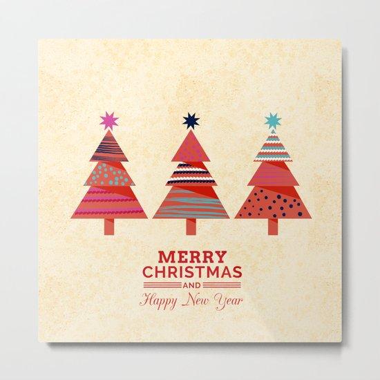 Three Christmas Trees Metal Print