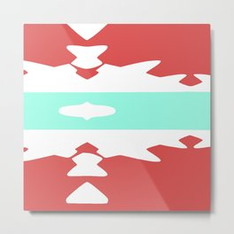 Red and Pastel Blue Axtec Metal Print