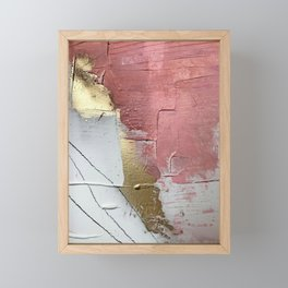 Darling: a minimal, abstract mixed-media piece in pink, white, and gold by Alyssa Hamilton Art Framed Mini Art Print