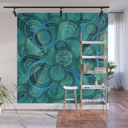 Gentle Teal and blue Circular Tribal  pattern Wall Mural