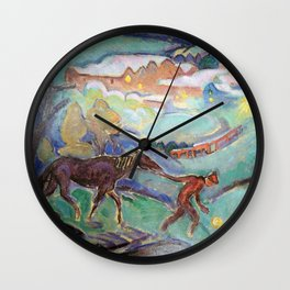 Man with a Horse, Nighttime landscape painting by William Sommer Wall Clock