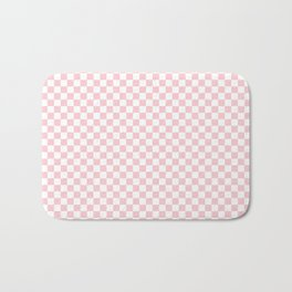 White and Light Millennial Pink Pastel Color Checkerboard Bath Mat