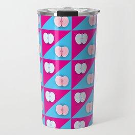 Apples halves pop art pink blue Travel Mug