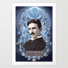 Nikola Tesla poster - Paper art print Art Print