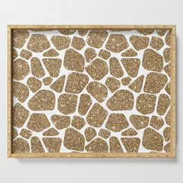 Glitter Giraffe Animal Print Pattern Serving Tray