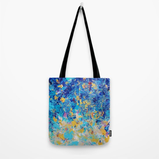 HYPNOTIC BLUE SUNSET - Simply Beautiful Royal Blue Navy Turquoise Aqua Sunrise Abstract Nature Decor Tote Bag