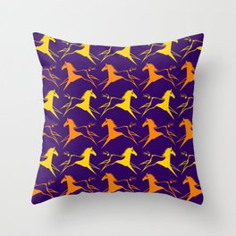 Horse Nation Purple Gold Throw Pillow