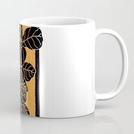 Fiddle Leaf Fig Block Print (Orange) Coffee Mug