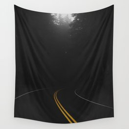 Road Black Yellow Wall Tapestry