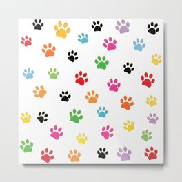 Colorful colored paw prints Metal Print