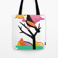 toucan Tote Bags featuring Toucan by Vasilisa Wise