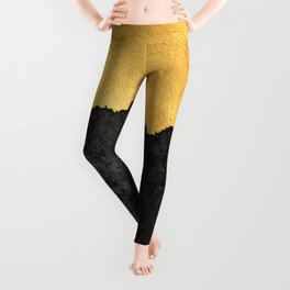 Black Grunge & Gold texture Leggings