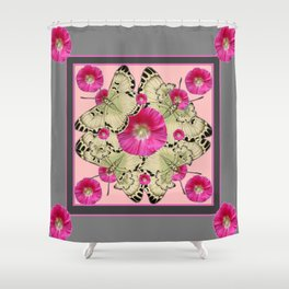 GREY & PINK HOLLYHOCK FLORAL BUTTERFLY PATTERN Shower Curtain