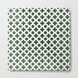 Stars & Crosses Pattern: Pine Green Metal Print