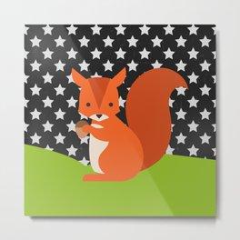 Squirrel, animals, stars, Chalkboard , nursery decor , children gift, birthday gift Metal Print