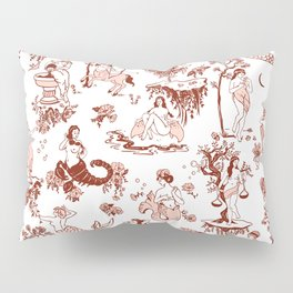 Classic Ruby Pink Zodiac-Inspired Toile Pattern Pillow Sham