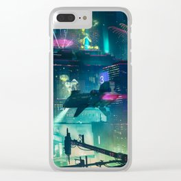 Cyberpunk City Clear iPhone Case