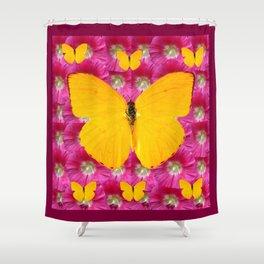 GOLDEN BUTTERFLIES ON FUCHSIA PINK Shower Curtain