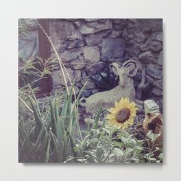 the Ram and the Sunflower Metal Print