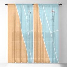Tennis Court Colors  Sheer Curtain