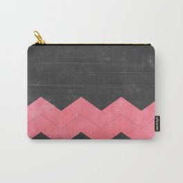 Washed Grey and Pink Chevron Carry-All Pouch
