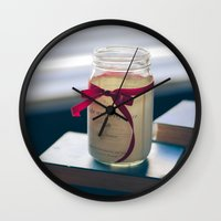 pride and prejudice Wall Clocks featuring Pride & Prejudice Mason Jar by {she tells stories}