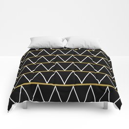 Black and gold zigzag Comforters