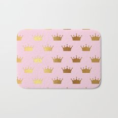 Gold Glitter effect crowns on pink - Heraldy Pattern for Princesses on #Society6 Bath Mat