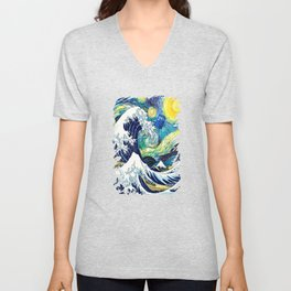 Tardis Starry Wave Night Unisex V-Neck
