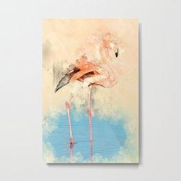 Flamingo Love #bird #watercolor #society6 Metal Print