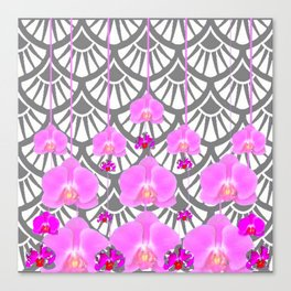 CERISE PINK ORCHID FLOWERS GREY DECO PATTERN ABSTRACT ART Canvas Print