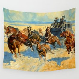 """Frederic Remington Western Art """"Downing the Nigh Leader"""" Wall Tapestry"""
