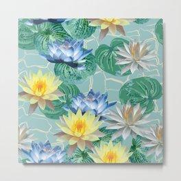 seamless pattern ot beautiful lotuses Metal Print