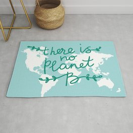 There is No Planet B. World map. White silhouettes of continents on a blue background. Ecology Rug