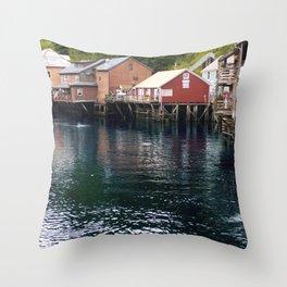 Alaskan Fishing Village Throw Pillow